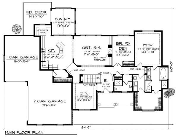 Craftsman Floor Plan - Main Floor Plan Plan #70-873