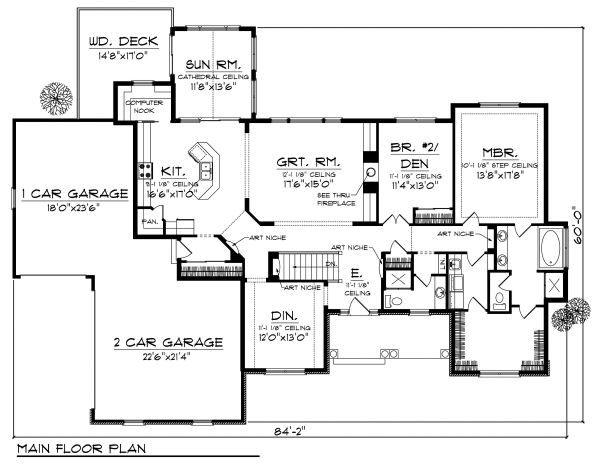 Craftsman Floor Plan - Main Floor Plan Plan #70-873