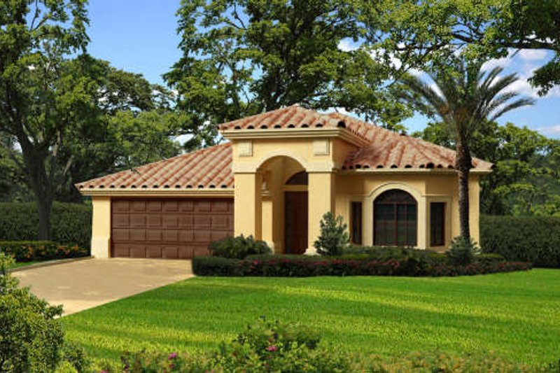 Mediterranean Style House Plan - 3 Beds 2.5 Baths 1811 Sq/Ft Plan #420-254 Exterior - Front Elevation