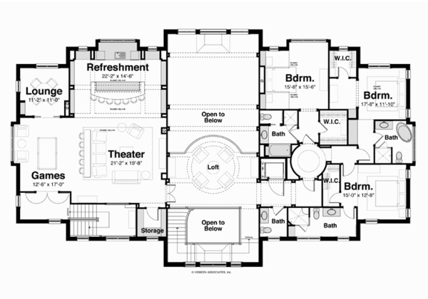 Classical Floor Plan - Upper Floor Plan Plan #928-256