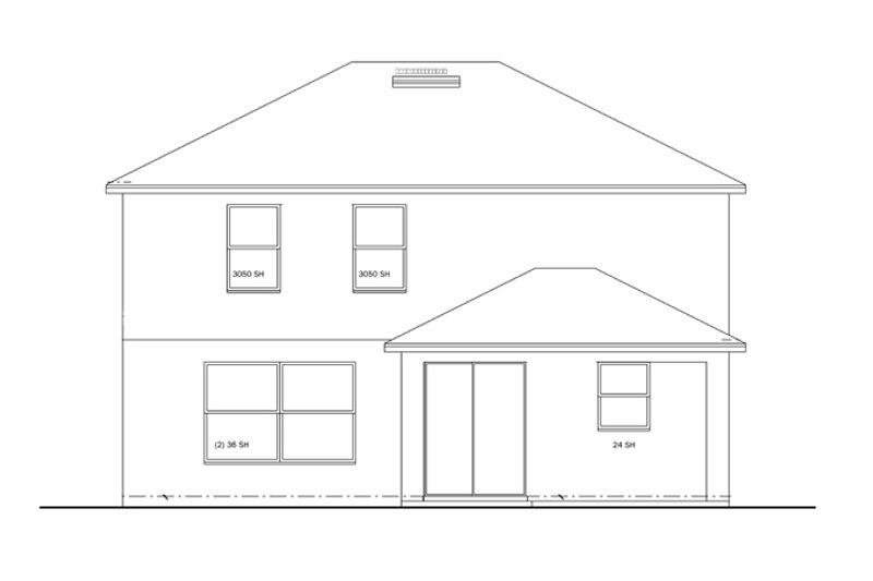 Colonial Exterior - Rear Elevation Plan #1058-23 - Houseplans.com