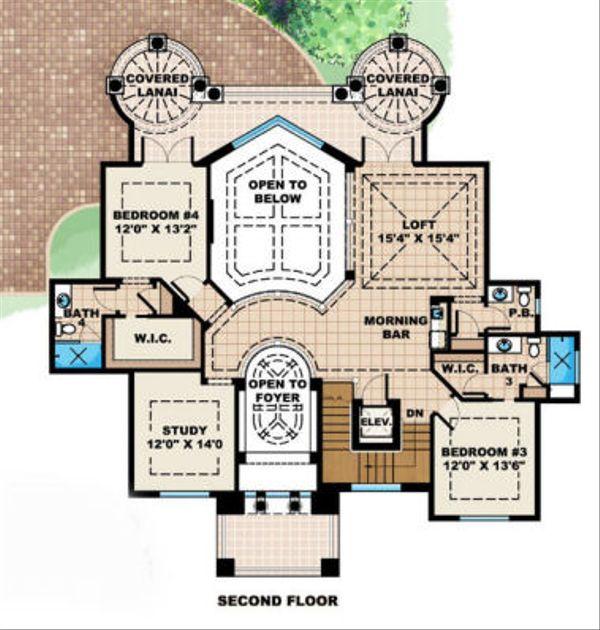 Mediterranean Floor Plan - Upper Floor Plan Plan #27-392