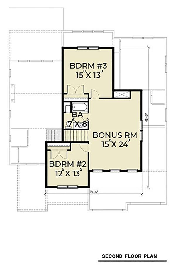 Craftsman Floor Plan - Upper Floor Plan Plan #1070-48