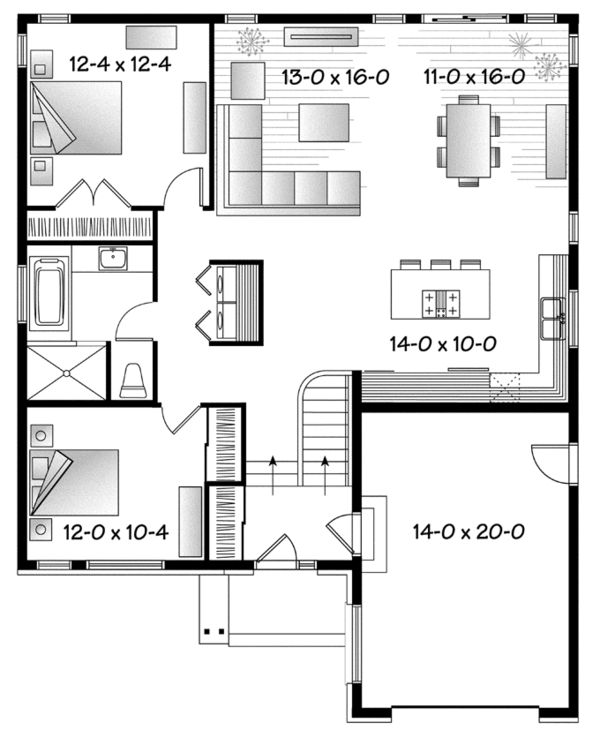 Contemporary Floor Plan - Main Floor Plan Plan #23-2575