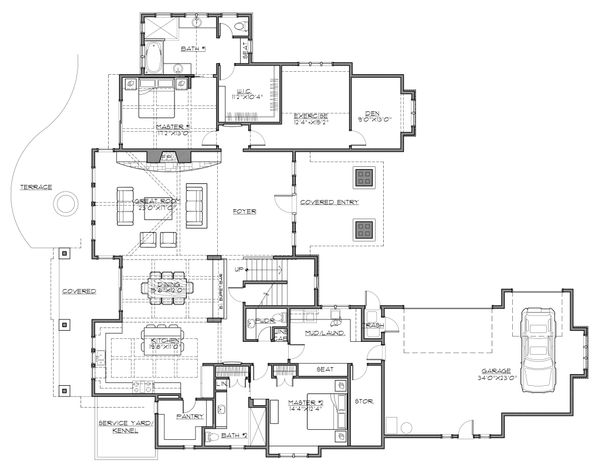Craftsman Floor Plan - Main Floor Plan Plan #892-27