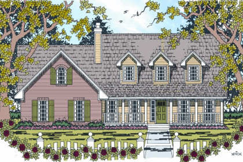 Country Exterior - Front Elevation Plan #42-344