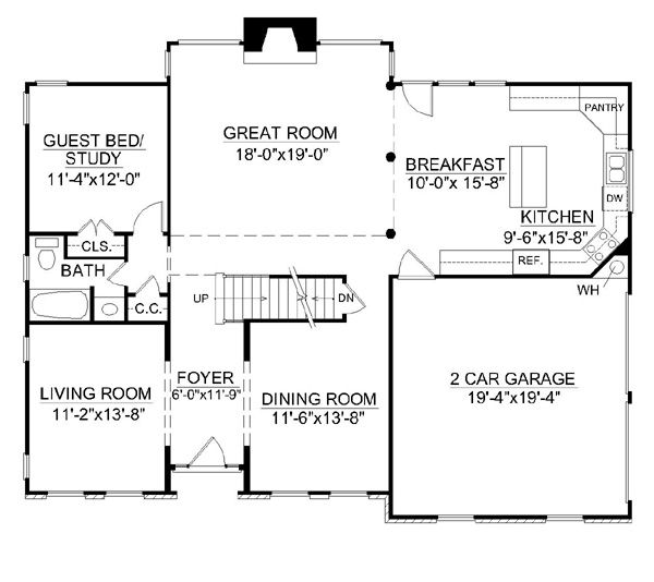 Colonial Floor Plan - Main Floor Plan Plan #119-260