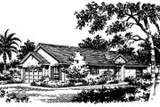 Mediterranean Style House Plan - 3 Beds 2 Baths 1396 Sq/Ft Plan #417-117 Exterior - Front Elevation