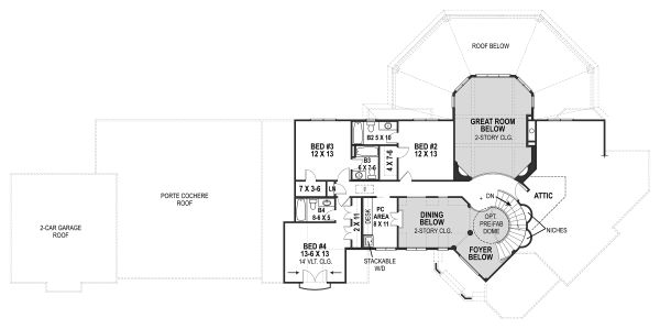 European Floor Plan - Upper Floor Plan Plan #119-432