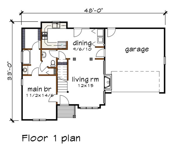 House Plan Design - Cottage Floor Plan - Main Floor Plan #79-158