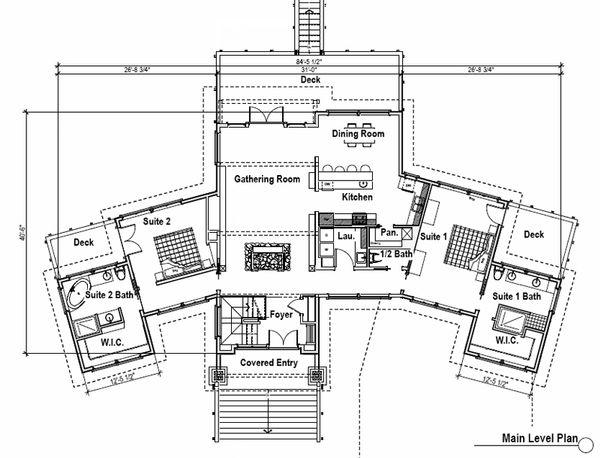 Craftsman Floor Plan - Main Floor Plan Plan #451-10