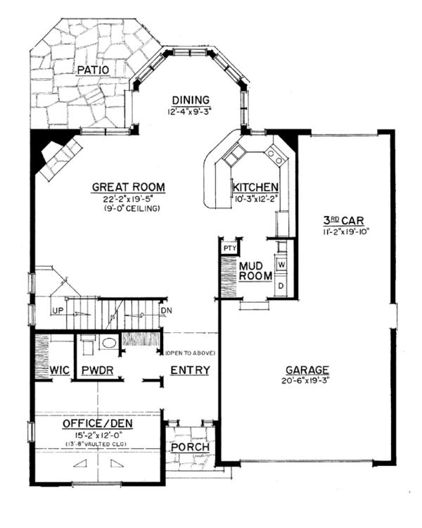 European Floor Plan - Main Floor Plan Plan #1016-106