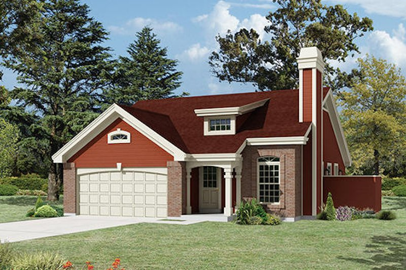 Cottage Style House Plan - 3 Beds 2 Baths 1153 Sq/Ft Plan #57-402 Exterior - Front Elevation