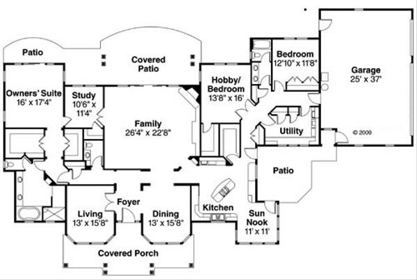 Ranch Floor Plan - Main Floor Plan Plan #124-752