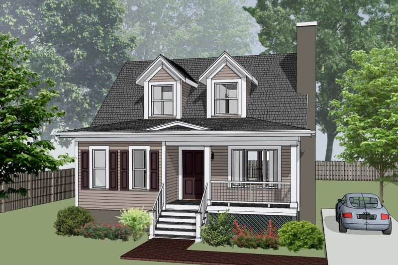 Farmhouse Style House Plan - 3 Beds 2.5 Baths 1289 Sq/Ft Plan #79-154 Exterior - Front Elevation