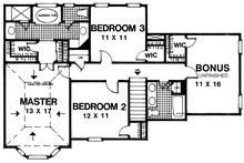 Traditional Floor Plan - Upper Floor Plan Plan #30-347