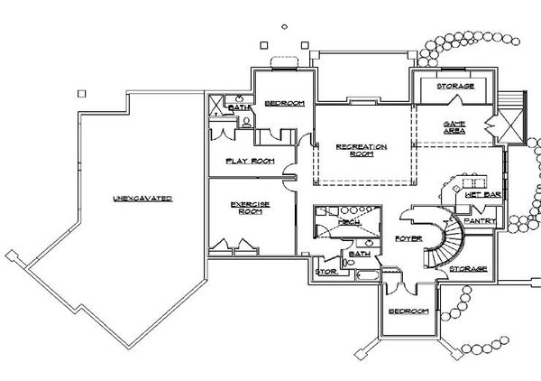 House Plan Design - European Floor Plan - Lower Floor Plan #5-442