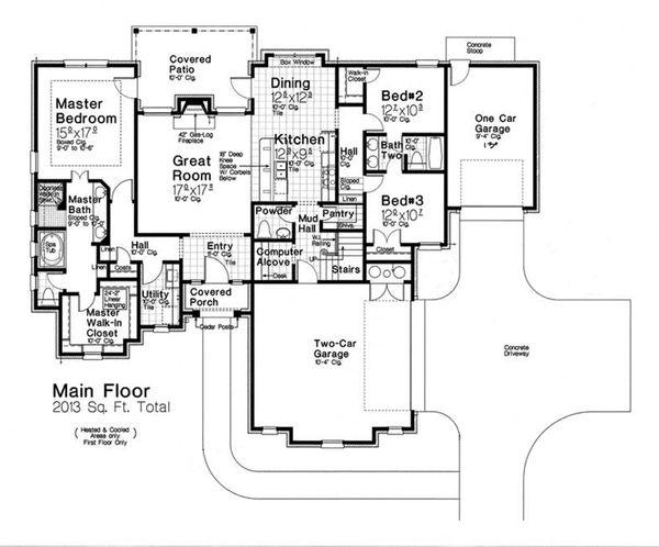 Architectural House Design - European Floor Plan - Main Floor Plan #310-1288