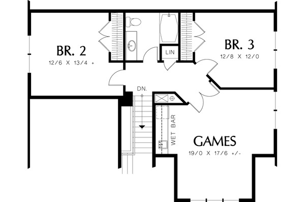 Upper Level Floor Plan - 2200 square foot Cottage plan