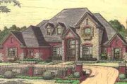 European Style House Plan - 4 Beds 3.5 Baths 3612 Sq/Ft Plan #310-207 Exterior - Front Elevation