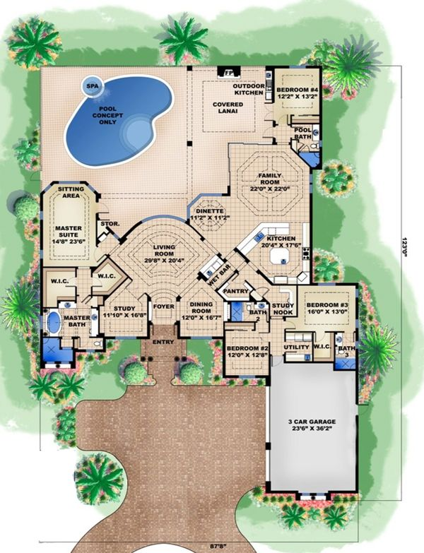 Mediterranean Floor Plan - Main Floor Plan Plan #27-524