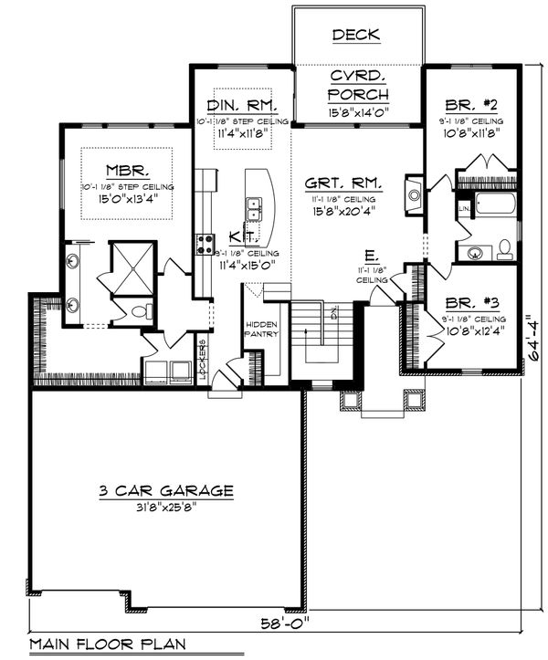 Ranch Floor Plan - Main Floor Plan Plan #70-1477