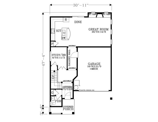 Craftsman Floor Plan - Main Floor Plan Plan #53-585