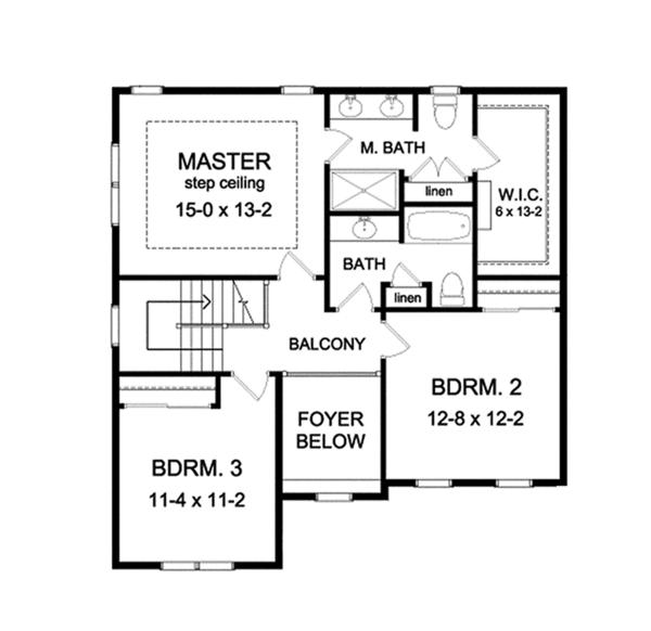 Traditional Floor Plan - Upper Floor Plan Plan #1010-119