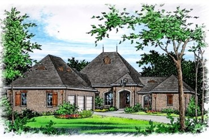 European Style House Plan - 4 Beds 3 Baths 3140 Sq/Ft Plan #15-257 Exterior - Front Elevation