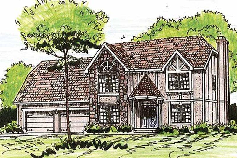 Tudor Exterior - Front Elevation Plan #405-320