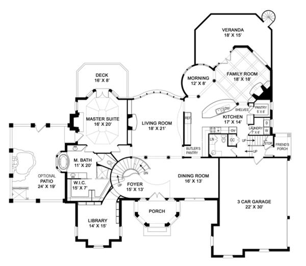 House Plan Design - European Floor Plan - Main Floor Plan #119-421