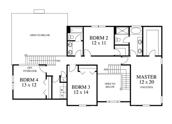Colonial Floor Plan - Upper Floor Plan Plan #1053-48