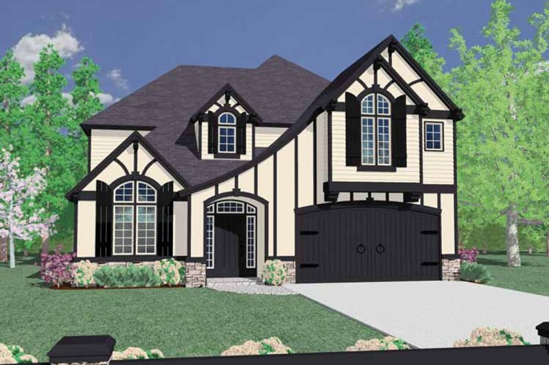 Tudor Exterior - Front Elevation Plan #509-353