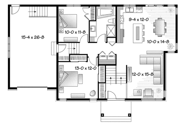 Contemporary Floor Plan - Main Floor Plan Plan #23-2568