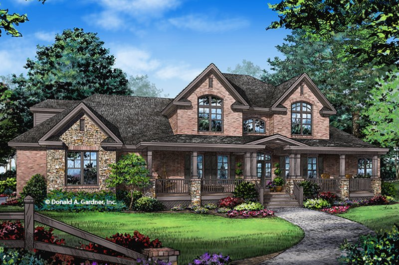 Country Exterior - Front Elevation Plan #929-1000