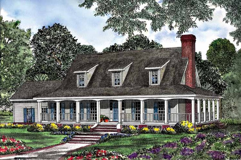 Architectural House Design - Country Exterior - Front Elevation Plan #17-3104
