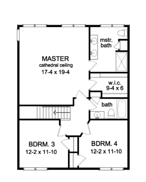 Traditional Floor Plan - Upper Floor Plan Plan #1010-77