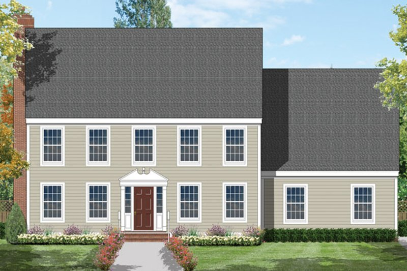 Architectural House Design - Colonial Exterior - Front Elevation Plan #1053-13