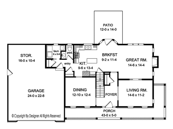 Colonial Floor Plan - Main Floor Plan Plan #1010-152
