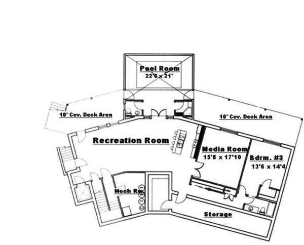 Traditional Floor Plan - Lower Floor Plan Plan #117-831