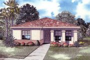 Mediterranean Style House Plan - 3 Beds 2.5 Baths 1663 Sq/Ft Plan #420-109 Exterior - Front Elevation