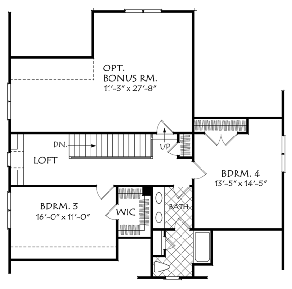 Traditional Floor Plan - Upper Floor Plan Plan #927-971
