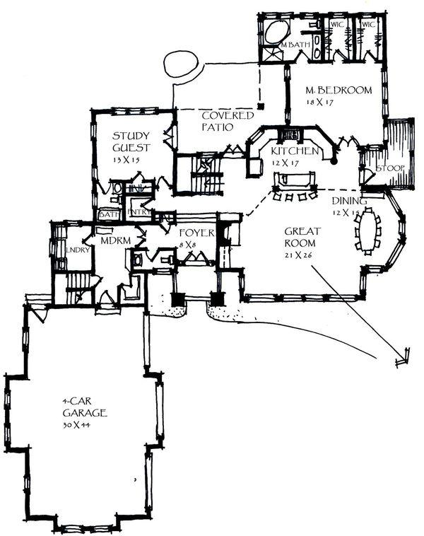 Craftsman Floor Plan - Main Floor Plan Plan #921-25