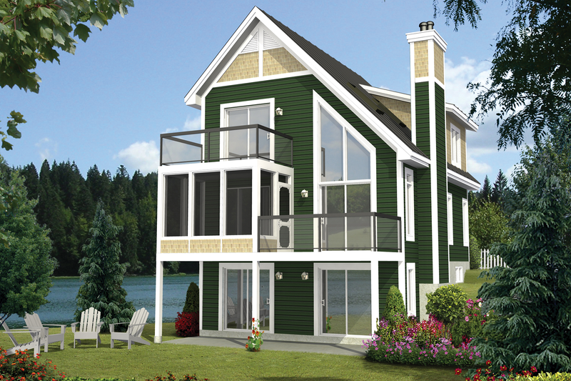Cabin Style House Plan - 3 Beds 2 Baths 1293 Sq/Ft Plan #25-4360 Exterior - Front Elevation