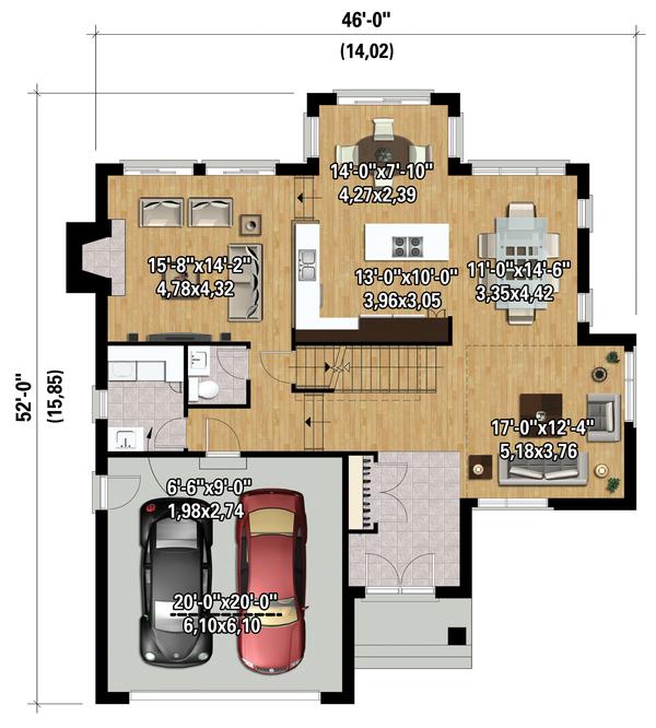 Contemporary Floor Plan - Main Floor Plan #25-4339