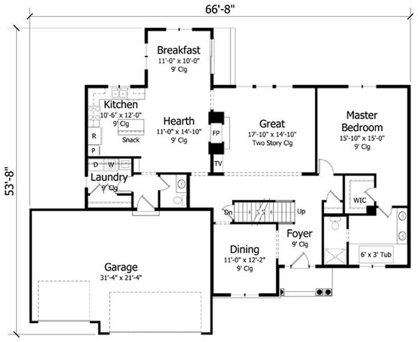 Craftsman Floor Plan - Main Floor Plan Plan #51-385