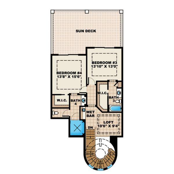 Mediterranean Floor Plan - Upper Floor Plan Plan #27-561