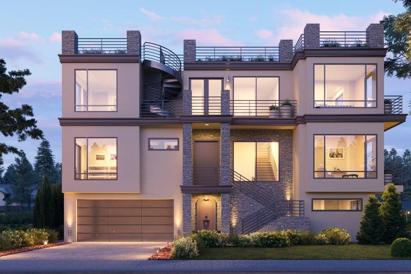 Architectural House Design - Modern Exterior - Front Elevation Plan #1066-105
