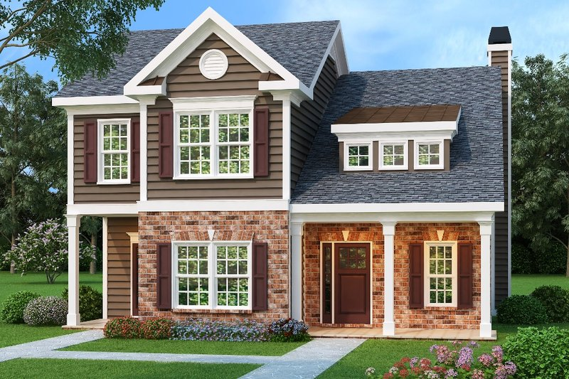 Traditional Style House Plan - 3 Beds 2.5 Baths 1708 Sq/Ft Plan #419-129 Exterior - Front Elevation