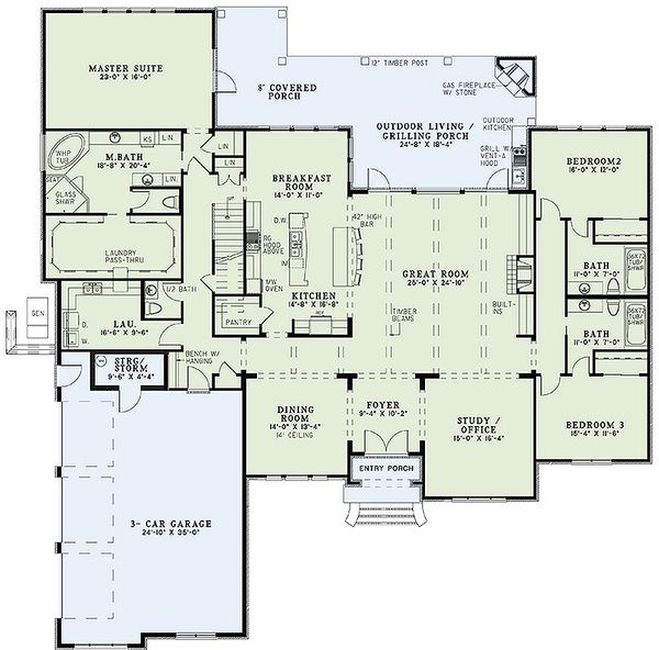 House Plan Design - European Floor Plan - Main Floor Plan #17-2477
